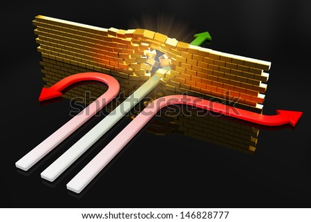 One arrow breaks the wall. Extraordinary decision concept. - stock photo