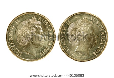 one Australian dollar coin isolated on white background - stock photo
