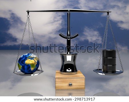 one balance with oil barrels and a earth globe, (3d render) Elements of this image furnished by NASA - stock photo