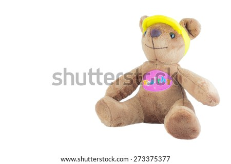 one bear doll on the white background - stock photo