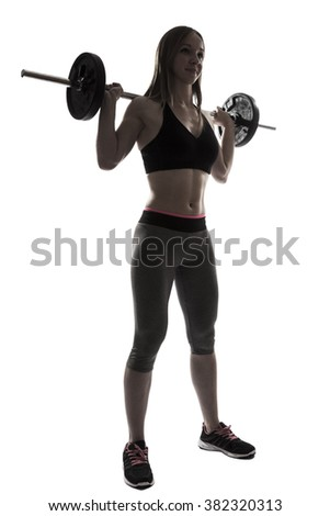 one beautiful fitness woman sport exercising squats with dumbbells silhouette on white background - stock photo