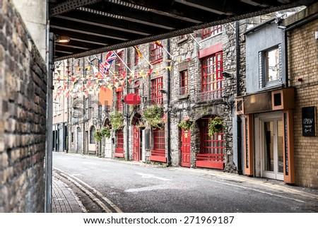 One beautiful  street  in Dublin, Ireland - stock photo