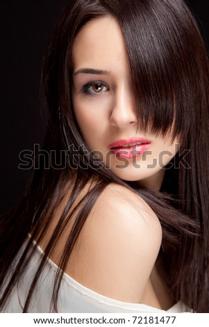 One beautiful woman with nice sensual hairstyle - stock photo