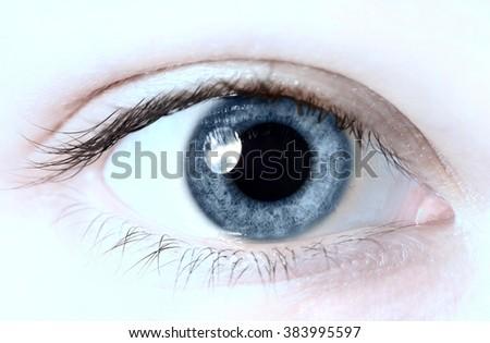 one beauty woman eye macro close-up - stock photo