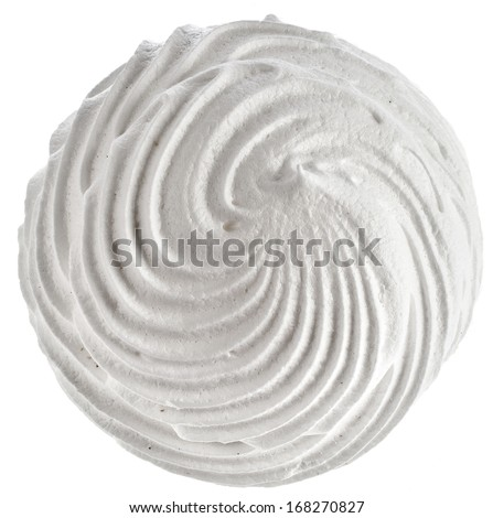 one big meringue zephyr top view  isolated on white background - stock photo