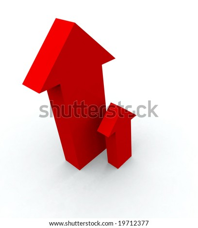One big red arrow and one small red arrow pointing up. - stock photo