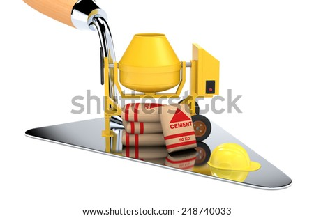 one big trowel with a cement mixer, bags of cement and a safety helmet, concept of construction site (3d render) - stock photo