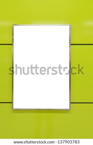 One big vertical / portrait orientation blank billboard on yellow wall - stock photo