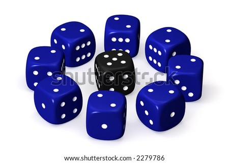 One black dice surrounded by several blue dices and isolated over a white background. This is a 3D rendered picture. - stock photo