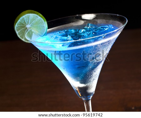 One blue cocktail martini - stock photo