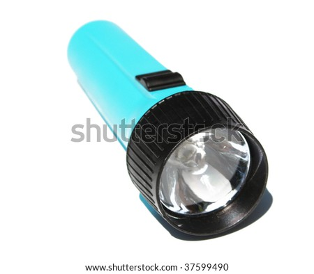 one blue flashlight on a white background - stock photo