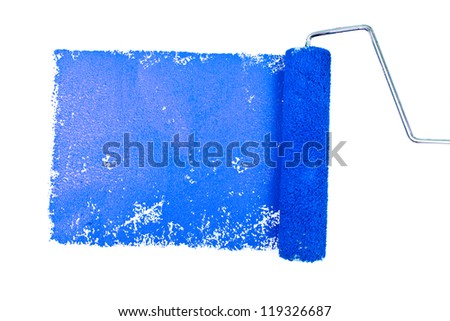 One blue trace of painting against a white background - stock photo