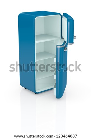 one blue vintage fridge, the doors are open and the fridge is empty (3d render) - stock photo