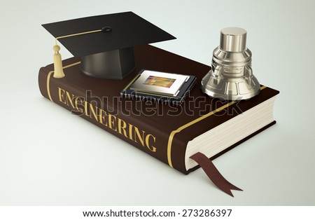 one book with a mortar board, a cpu and a mechanical piece, concept of faculty of engineering (3d render)  - stock photo