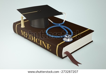 one book with a mortar board and stethoscope, concept of faculty of medicine (3d render) - stock photo