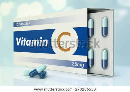 one box of pills with the label, vitamin C (3d render) - stock photo