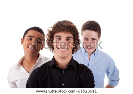 one boy, with two friends on back, of different colors,looking to camera and smiling, isolated on white, studio shot - stock photo