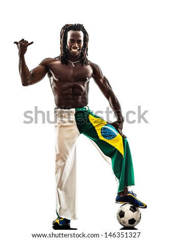 one brazilian  black man soccer player  on white background - stock photo