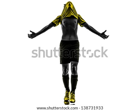 one brazilian soccer football player young man happiness joy  in silhouette studio isolated on white background - stock photo