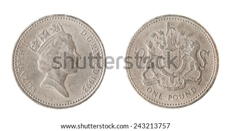 One british Pound coin isolated on white background - stock photo