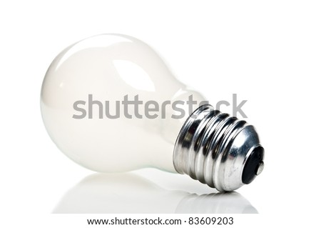 one bulb lamp isolated on a white background - stock photo