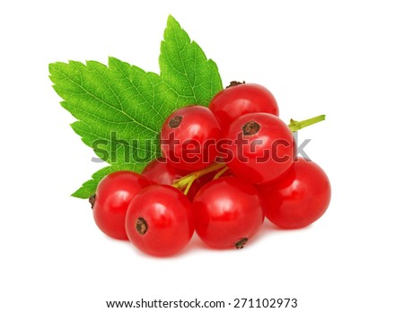 One bunch of ripe redcurrant with green leaf isolated on white background - stock photo