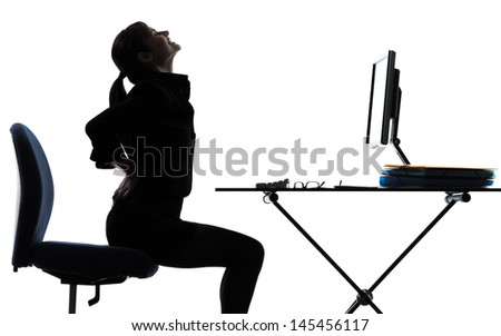 one business woman sitting backache pain silhouette studio isolated on white background - stock photo