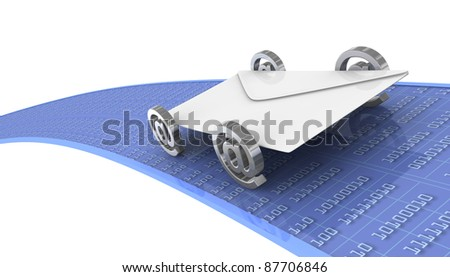 one car made with an envelope and four email symbols (3d render) - stock photo