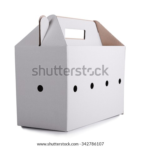 one cardboard box isolated on white background - stock photo