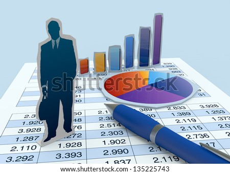 one cardboard cutout of a businessman with financial charts and a worksheet (3d render) - stock photo
