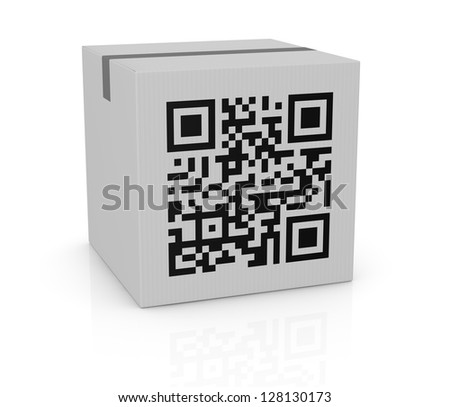 one carton box with a qr code printed on a side (3d render) - stock photo