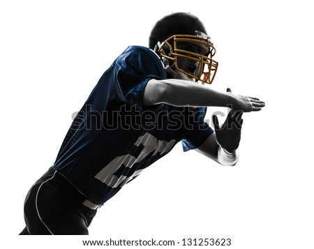 one caucasian american football player man time out gesturing in silhouette studio isolated on white background - stock photo