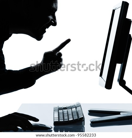 one caucasian business man computing computer  happy success portrait silhouette in studio isolated on white background - stock photo