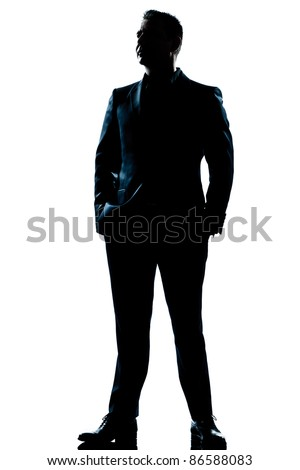 one caucasian  business man  handsome full suit standing full length serious silhouette in studio isolated white background - stock photo