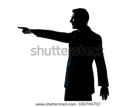 one caucasian business man poiting portrait silhouette in studio isolated on white background - stock photo