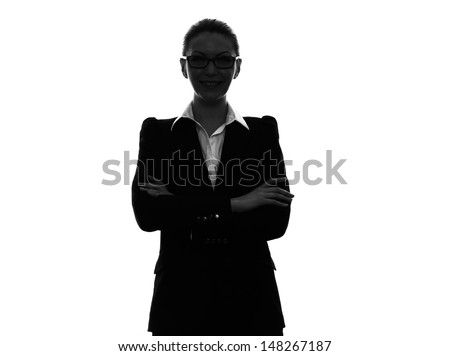 one caucasian business woman  arms crossed portrait in silhouette  on white background - stock photo