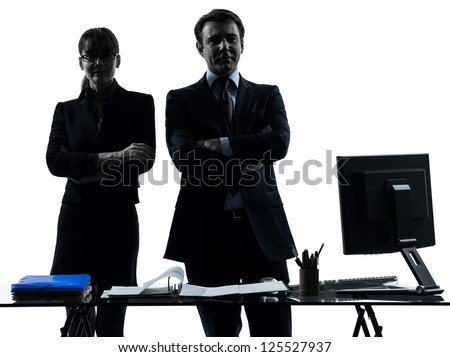 one caucasian busy smiling business woman man couple  in silhouette studio isolated on white background - stock photo
