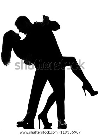 one caucasian couple lovers  man and woman dancing tango in studio silhouette isolated on white background - stock photo