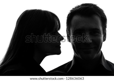 one caucasian couple woman man close up portrait  in silhouette studio isolated on white background - stock photo