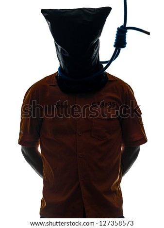 one caucasian criminal man with hangman noose around the neck  in silhouette studio isolated on white background - stock photo