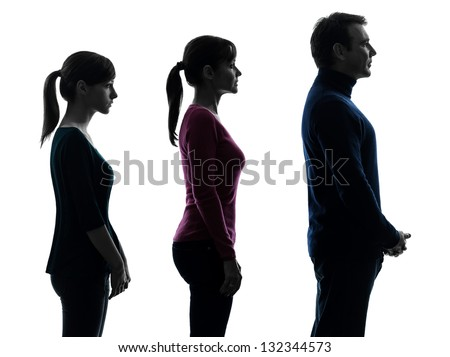 one caucasian family father mother daughter man standing serious profile portrait in silhouette studio isolated on white background - stock photo