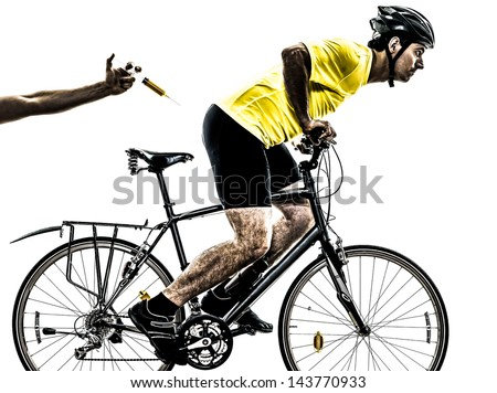 one caucasian man exercising doping sport concept    on white background - stock photo