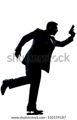 one caucasian man full length silhouette in studio isolated white background - stock photo