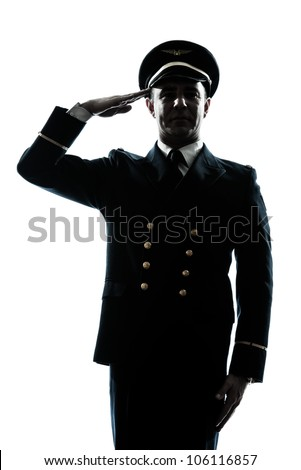 one caucasian man in airline pilot uniform saluting silhouette  in studio isolated on white background - stock photo