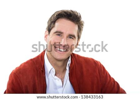one caucasian man mature handsome portrait  blue eyes smiling portrait studio  white background - stock photo