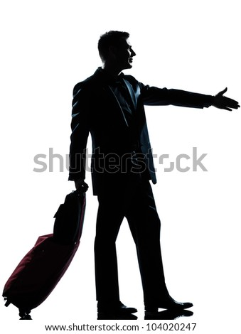 one caucasian man one caucasian business traveler man handshake  with suitcase  full length silhouette in studio isolated on white background - stock photo