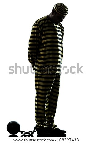 one caucasian man prisoner criminal with chain ball in studio isolated on white background - stock photo