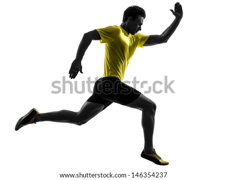 one caucasian man young sprinter runner running  in silhouette studio  on white background - stock photo