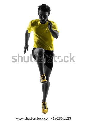 one caucasian man young sprinter runner running  in silhouette studio  on white background - stock photo
