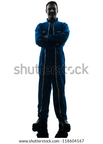 one caucasian repairman worker silhouette in studio on white background - stock photo